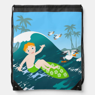Boy surfer has a birthday party drawstring bag