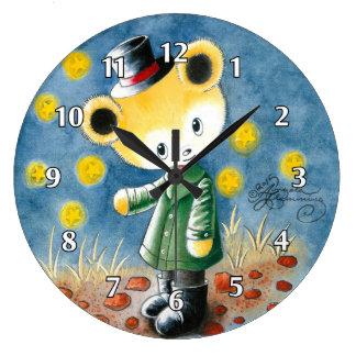 Boy Teddy Bear In A Top Hat Wall Clocks