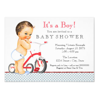 Boy Tricycle Baby Shower Card