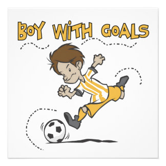Boy With Goals T-shirts and Gifts Personalized Invitations