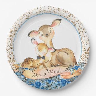 Boy Woodland Deer Baby Shower Paper Plates