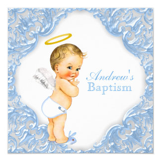 Boys Angel Baptism Christening Card