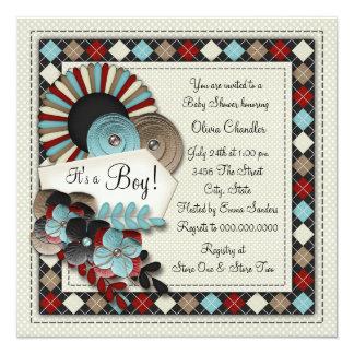 Boys Argyle Baby Shower Card