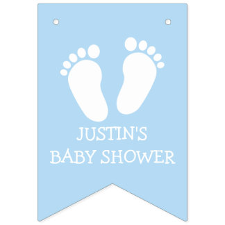 Boys baby shower party foot steps bunting banner