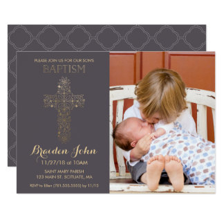 Boy's Baptism, Christening Invitation, Photo, Gold Card