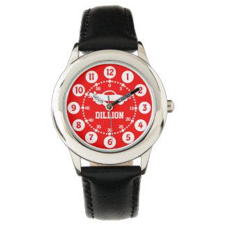 Boys black, red name wrist watch