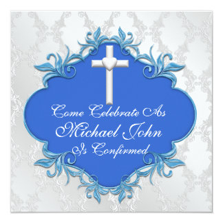 BOYS BLUE  COMMUNION Invitations Elegant Design