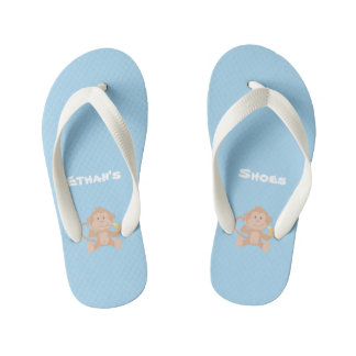 Boy's Blue Flip Flops with Monkey and Banana
