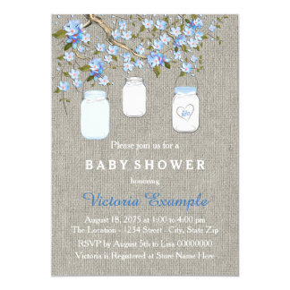 Boys Burlap Baby Shower Card