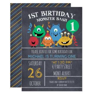 Boys Chalkboard Monsters 1st Birthday Invitation