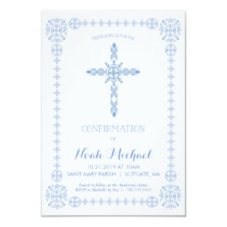 Boys Confirmation Invitation, Classy Invite, Cross Card