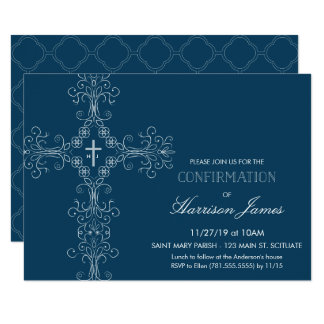Boy's Confirmation Invitation with Cross, Initials