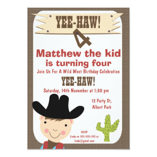 Boys Cowboy And Cactus Birthday Party Invitation