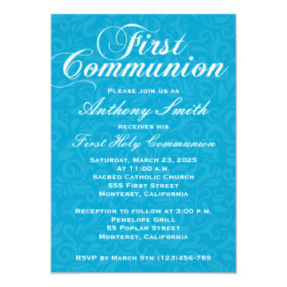 Boy's Damask First Comunion Invitation