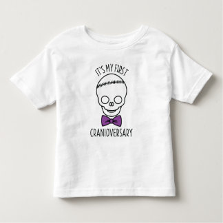 Boys First Cranioversary Skull with Bowtie Toddler T-Shirt