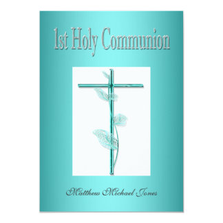 Boys first holy communion blue 13 cm x 18 cm invitation card