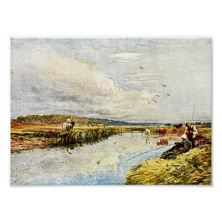 Boys Fishing Watercolor Painting Fine Art Print! Poster