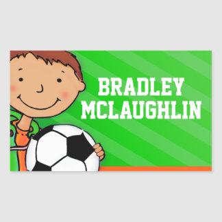 Boys football soccer name green id label sticker