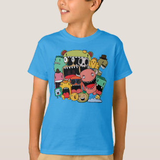Boys Graffiti Doodle Illustrated Monsters T-Shirt