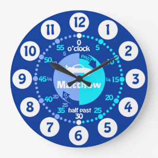 Boys learn to tell time blue named car clock