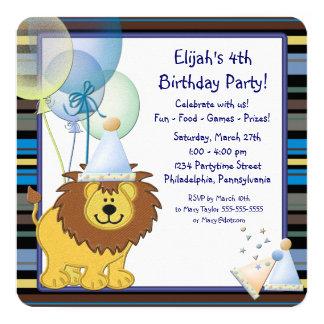 "Boys Lion Birthday Party 5.25"" Square Invitation Card"