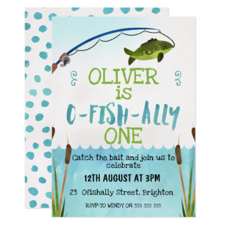 Boys O-Fish_Ally Watercolor Birthday Invitation