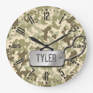 Boys or Girls Camouflage Personalizable Wall Clock