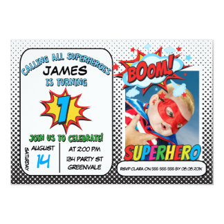 Boys Photo Superhero 1st Birthday Invitation