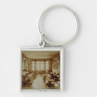 Boy's Recreation Room at the Deaf and Dumb Institu Silver-Colored Square Key Ring