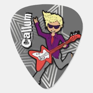 Boys rock star kids personalized id guitar pick
