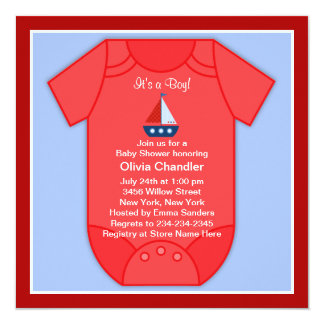 Boys Sailboat Baby Shower Card