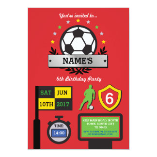 Boy's Soccer Party Birthday Sports Red Invite