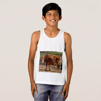 "Boy's Tank Top ""Cow In Bricks"""