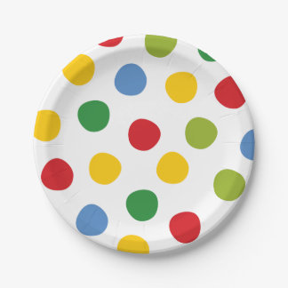 Boys Toys Birthday Primary Polka Dots Paper Plates 7 Inch Paper Plate