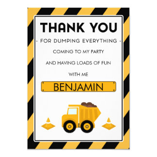 Boys Under Construction Birthday Thank You Card