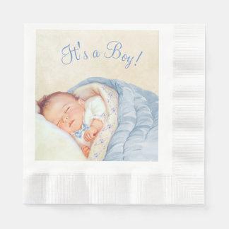 Boys Vintage Baby Shower Disposable Serviette