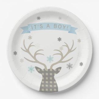 Boys Winter Wonderland Woodland Deer Baby Shower Paper Plate