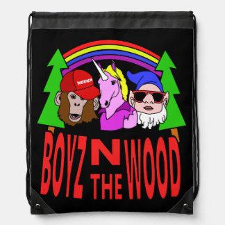 Boyz In The Wood Drawstring Bag