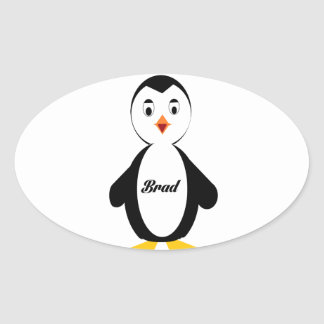 Brad Penguin Oval Sticker