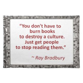 Bradbury on books placemat