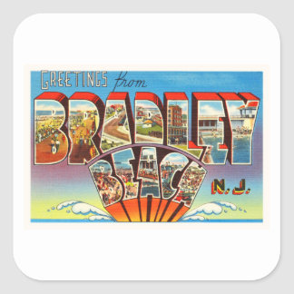 Bradley Beach New Jersey NJ Vintage Old Postcard- Square Sticker