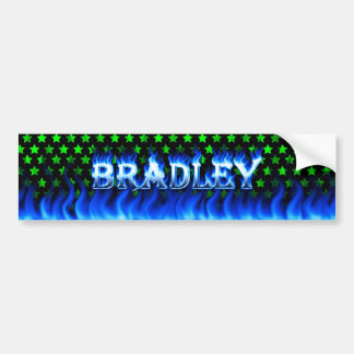 Bradley blue fire and flames bumper sticker design
