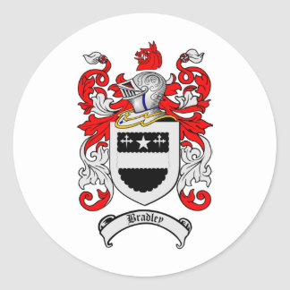 BRADLEY FAMILY CREST -  BRADLEY COAT OF ARMS CLASSIC ROUND STICKER