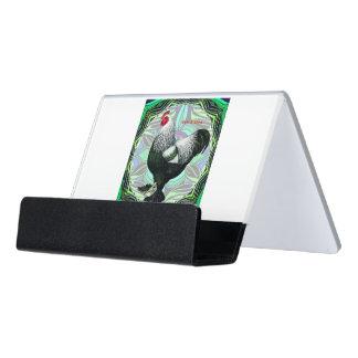 Brahma:  Fancy Dark Rooster Desk Business Card Holder