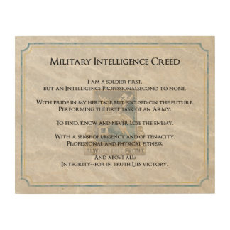 Branch Creeds - Military Intelligence Wood Print