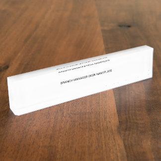 Branch manager desk nameplate