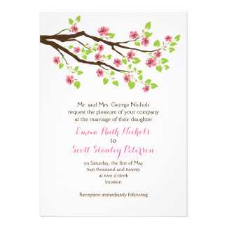 Branch with pink cherry blossoms spring wedding personalized invite