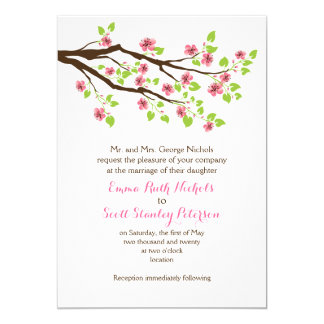 Branch with pink cherry blossoms spring wedding 13 cm x 18 cm invitation card