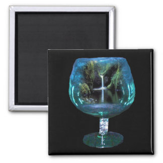 Brandy glass with lagoon & waterfall magnet