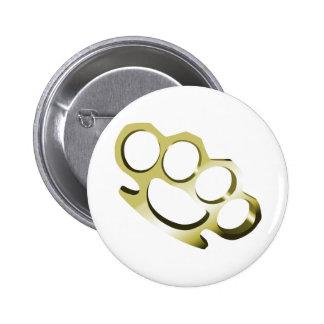 Brass Knuckles 6 Cm Round Badge